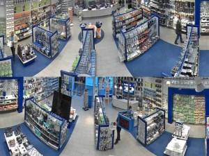 Вид экрана с разными зонами магазина